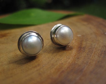 Handmade Pearl Sterling Silver Studs Post Earrings 6mm