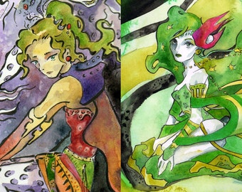 Final Fantasy Rydia and Terra Print Package Deal - Art Reproductions of Video Game Inspired Watercolors