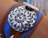 Boho Jewelry, Boho Silk Wrap Bracelet, Boho Fashion Womens Accessories, Womens Fashion Gift for Her, STERLING Silver Bohemian Jewelry