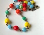 Summer Fiesta Necklace, Beaded Necklace, Colorful, Red, Yellow, Blue, Green, Multicolored, Brass Necklace, Glass Beads
