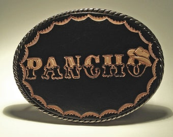 Personalized Western Belt Buckle Hand Carved