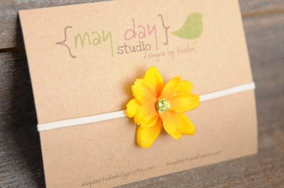 newborn baby toddler girls flower bow headband - yellow flower on skinny nude headband