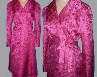 Vintage 70s Empire Dress Fuchsia Silk S M
