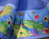 Frogs on  Green Kitchen Towel