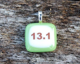 Half Marathon Pendant 13.1 Miles Fused Glass Pendant Run Running Jewelry Handmade