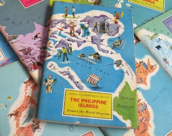 vintage map & travel books - American Geographical Society - around the world program