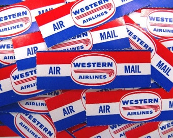 6 vintage airmail labels - post postage mailing labels