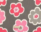 Premier Prints Clearance Home Decorating Fabric Ikat Petals Flamingo - One Yard