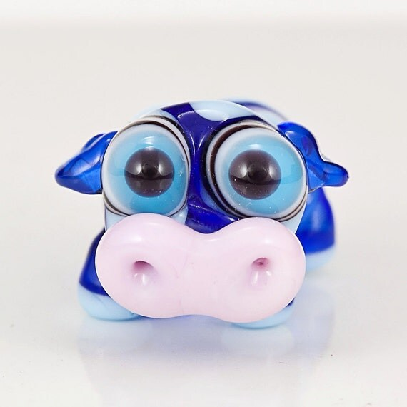 Blue Cow Lampwork Glass Bead