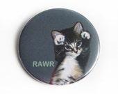 Bottle Opener Keychain or Magnet - Rawr Kitten - Cute Cat Sweet Kitty Roar Ferocious Adorable Key Chain Small Gift Magnetic Beer Opener