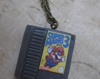 Nes mario 3 cartridge necklace