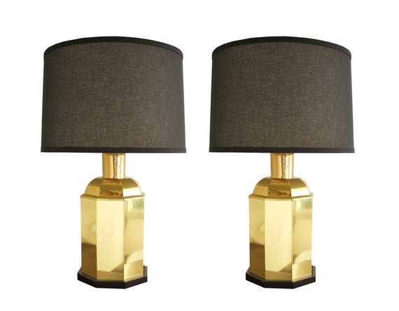 Vintage pair of brass table lamp