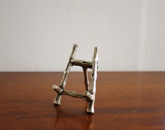 Tiny vintage silver bamboo easel