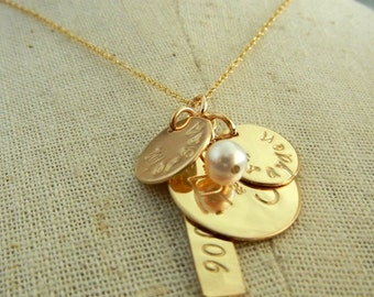 Gold Family Necklace, Mommy Necklace, Personalized, Gold Charm Jewelry Gold ANNE by E. Ria Designs