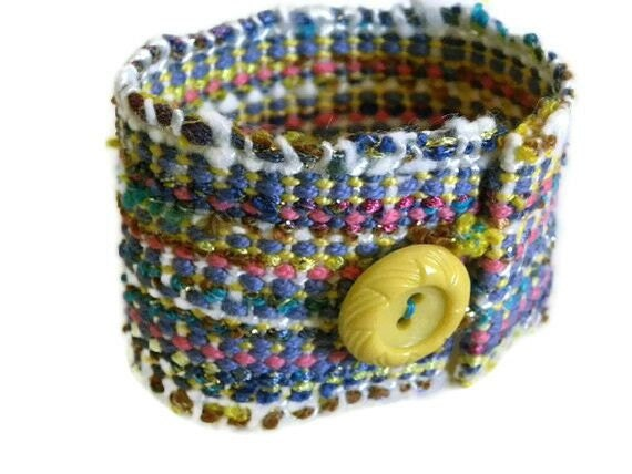 Handwoven Cuff, Bracelet, vintage button