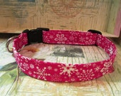 Christmas Dog Collar Red with White Snowflakes You Pick the Size FREE Shipping in USA