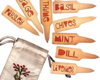 Herb Garden Plant Pot Markers - 10 Funky TerraCotta w/ Adorable Embroidered Gift Bag