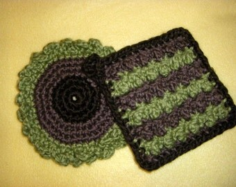 Two Deluxe Organic Cotton Washcloths - green and brown