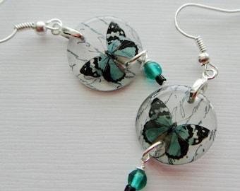 aqua butterfly earrings, resin earrings, specimen series , aqua blue , gifts under 20
