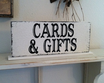 CARDS & GIFTS Self Standing Sign / Hand Painted Shabby Vintage Wedding Signs / 4 3/4 x 12