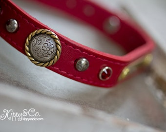 Red Dog Collar // Red Leather Dog Collar // Leather Dog Collar // Pet Collar // Leather Pet Collar // Puppy Collar // Jeweled Dog Collar