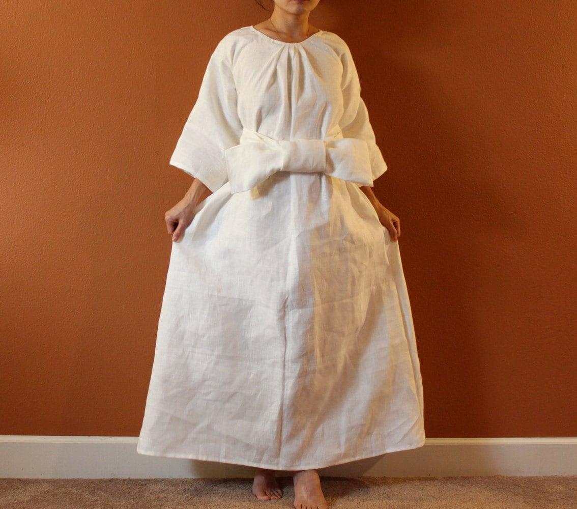 Alternative eco wedding dress made to measure listing for White linen dress for beach wedding