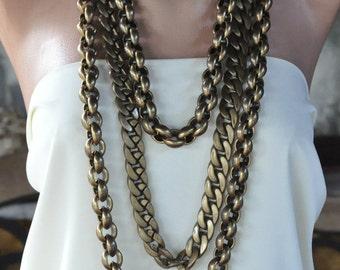 Copper Multistrand Chain Necklace