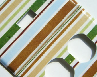 Outlet Cover Light Switch Cover Switchplate -- Blue, Green, and Brown Stripes