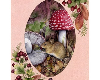 Mouse with berries and toadstool print