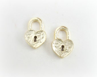 Matte Gold Charms, Solid Casting Lock Charms Pendants, 2pcs, Made in the USA