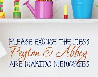 "Making Memories Vinyl wall decal words, Custom Kids names, Grandkids, Mothers Day gift, 36"" long"