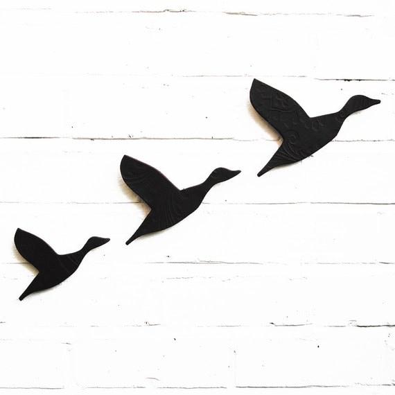Ceramic Wall Art Black Flying Ducks Artwork For Men & Women Gift for Guys Masculine Decor Modern Retro 3D Bathroom Living Room