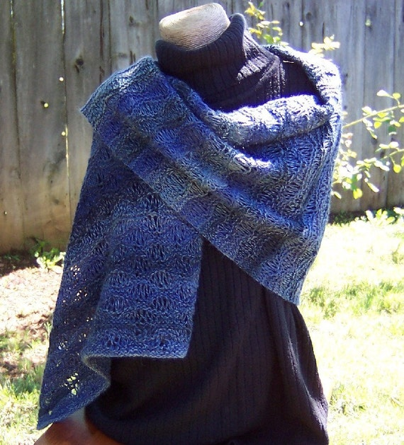 Hand Knit Beaded Lace Wrap