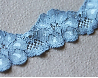 "Blue Stretch Lace, 1 1/2"" Blue Elastic Trim 2 yards, Floral Elastic Lace  for lingerie, headbands, bridal garters L45"