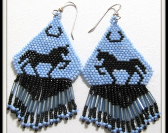 Silhouette Horse Earrings, Beaded Dangle Earrings,  Sterling Silver .925 Earwires, Black with Blue, Jewelry accessories, Earrings, Item #831