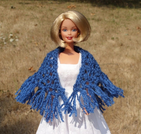 Barbie Doll Shawl - Knitted -  Royal Blue - Fringe on Bottom Edge