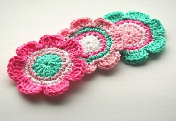 Crochet Flower Motifs in Aqua, Candy Pink and Cream x 3
