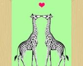 First Kiss Giraffes Print Printable 5 x 7 Digital Print Mint Green Animal Print Nursery Art