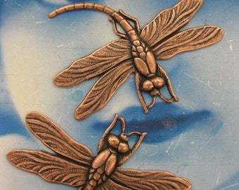 Copper Ox Plated Large Dragonfly Stampings  325COP x2