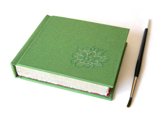 Small Handbound Journal - Watercolor Paper - Green and Pink