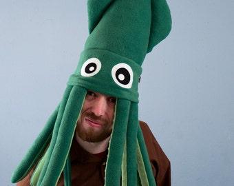 Large Plush Squid Hat - Green