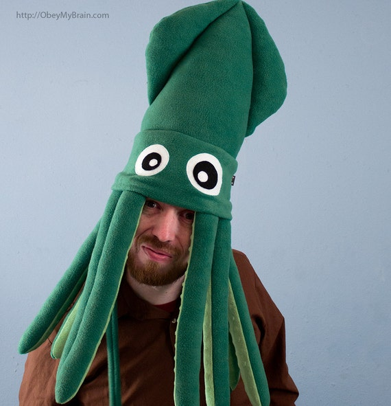 Squid Hat: Large Plush Squid Hat Green By ObeyMyBrain On Etsy
