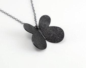 Oxidized - Texturized Sterling Silver Pendant. Roll Printed. Black. Oval Link Chain. VARIACIONES II Pendant. Handmade by Maria Goti Joyas.