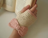 Lady Bows   Crochet Fingerless Gloves, Ivory Pima Cotton, Pink Bows, Hand Warmers, Two Tone - Ready to Ship