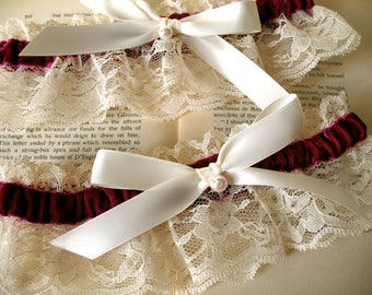 Sweet Nothings | Bridal Garter Set, Ruby Velvet ,Ivory Lace, Champagne Satin Bow with Pearl, Winter Wedding - Ready to Ship