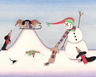 Dachshunds (doxies) frolic in winter with snowman / Lynch signed folk art print
