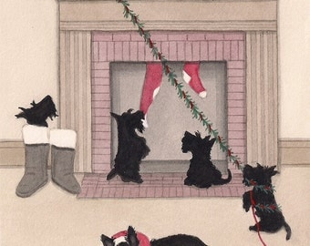Christmas Cards: Scottish terrier (scottie) family doesn't want Santa to leave / Lynch folk art