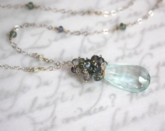 Aquamarine Necklace with Sapphires and Spinel in 14K Solid Gold - Top Grade - SALE