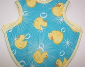 Reversible Blue and Yellow Ducky Baby Bib/Apron with terrycloth back