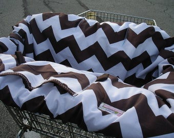 Shopping Cart cover  for boy or girl.....Large Chevron in Cocoa Brown Shopping Cart Cover